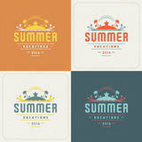 Summer Holidays Retro Typography Labels or Badges and Vector Backgrounds Stock Image