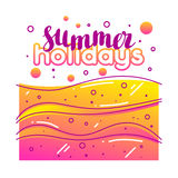 Summer holidays on sandy beach. Stylized illustration of coastline.  Royalty Free Stock Images