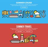 Summer holidays or sea cruise travel vector web banners template Stock Photo