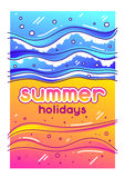 Summer holidays. Sea surf on sandy beach. Stylized illustration of coastline.  Stock Image