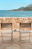 Summer holidays, sea view terrace, harmony. Royalty Free Stock Photo