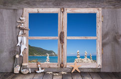 Summer holidays on the sea - wooden window. Royalty Free Stock Images
