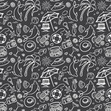 Summer holidays seamless pattern. Vector illustration for web, print, textile and advertisment. Hand-drawn summer doodle pattern on black background Royalty Free Stock Images