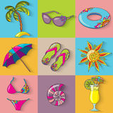 Summer holidays seaside beach icons set. Stock Photography