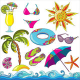 Summer holidays seaside beach icons set. Royalty Free Stock Photography
