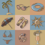Summer holidays seaside beach icons set. Stock Photo