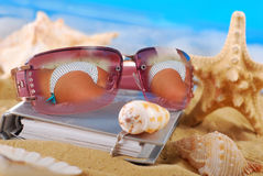 Summer holidays on the seaside with sunglasses. Summer holidays memories concept -notebook and sunglasses with reflection of woman back in bikini lying on the royalty free stock photography
