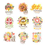 Summer holidays set for label design. Journey, adventure, beach, sea colorful vector Illustrations Stock Photography