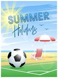 Summer Holidays. Summer Sports card. Soccer. Summer Holidays. Sports card. Soccer ball with deck chair and beach umbrella on the beach background. Vector vector illustration