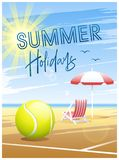 Summer Holidays. Summer Sports card. Tennis. Summer Holidays. Sports card. Tennis ball with deck chair and beach umbrella on the beach background. Vector royalty free illustration