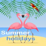 Summer holidays, a summer holidays banner with flamingos and a parrot against the background of the sea and the leaves of a palm t. Ree. Flat design, vector Royalty Free Stock Image