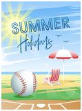Summer Holidays. Summer Sports card. Baseball. Summer Holidays. Summer Sports card. Baseball ball with deck chair and beach umbrella on the beach background stock illustration