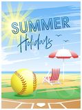 Summer Holidays. Summer Sports card. Softball. Summer Holidays. Sports card. Softball ball with deck chair and beach umbrella on the beach background. Vector royalty free illustration