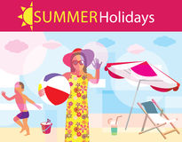 Summer holidays. Summertime traveling template with beach summer accessories Vector Illustration
