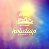 Summer holidays sunset with defocused lights. Royalty Free Stock Photo