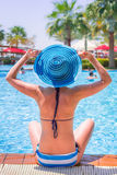 Summer holidays at the swimming pool Royalty Free Stock Photo