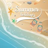 Summer holidays template. plus EPS10 vector file. Sea shells, starfish on the beach. Summer holidays. plus EPS10 vector file Stock Images