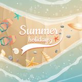 Summer holidays template. plus EPS10 vector file. Sea shells, starfish on the beach. Summer holidays. plus EPS10 vector file Royalty Free Stock Photo