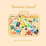 Summer holidays things in a suitcase shape. Royalty Free Stock Photography