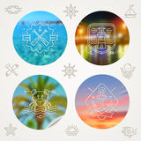 Summer holidays, travel and nautical emblems and labels Stock Image