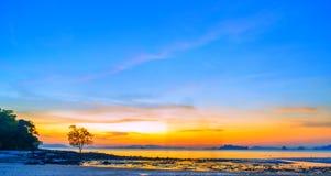 Tropical beach at sunset. Summer holidays travel Tropical beach at sunset stock photo
