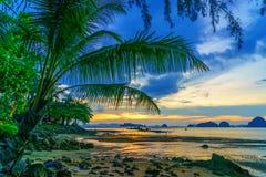 Tropical beach at sunset. Summer holidays travel Tropical beach at sunset royalty free stock images