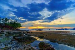 Tropical beach at sunset. Summer holidays travel Tropical beach at sunset stock images