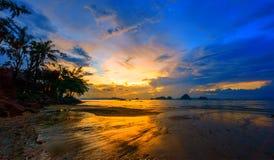 Tropical beach at sunset. Summer holidays travel Tropical beach at sunset stock image