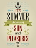 Summer Holidays and Travel Typographic Greeting Card Stock Image