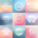 Summer holidays, travel, vacation adventure labels template set. On blurred backgrounds. Vintage badges. Vector illustration Royalty Free Stock Image