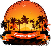 Summer holidays tropical sunset background Stock Image