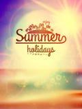Summer holidays typography background. Stock Photo