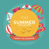 Summer holidays typography with Flat icon summer Stock Image