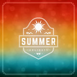 Summer Holidays Typography Label Design on Grunge Textured Paper Background. Stock Images