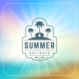 Summer Holidays Typography Label Design on Grunge Textured Paper Background. Royalty Free Stock Photography