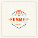 Summer Holidays Typography Label Design on Grunge Textured Paper Background. Royalty Free Stock Photos