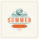 Summer Holidays Typography Label Design on Grunge Textured Paper Background. Royalty Free Stock Image