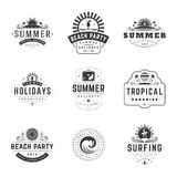 Summer Holidays Typography Labels or Badges Vector Design Stock Photography