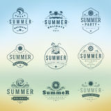 Summer Holidays Typography Labels or Badges Vector Design Royalty Free Stock Images