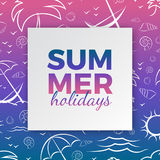 Summer holidays typography for poster, banner, card seasonal design with frame, hand drawn waves, sea shells, palms, beach lounger vector illustration