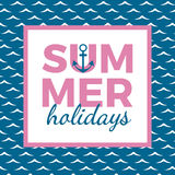 Summer holidays typography for poster, banner, flyer, greeting card and other seasonal design with anchor, frame and blue sea wave Royalty Free Stock Image