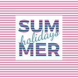 Summer holidays typography for poster, banner, flyer, greeting card and other seasonal design with anchor, frame and blue sea wave stock illustration
