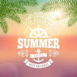 Summer holidays typography poster with blurred background Royalty Free Stock Photo