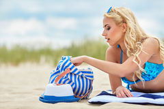 Summer holidays, vacation and beach concept Stock Images