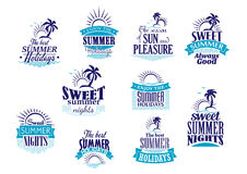 Summer holidays and vacation emblems in blue Stock Image