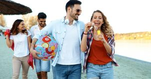 Summer, holidays, vacation and happiness concept. Group of friends royalty free stock image