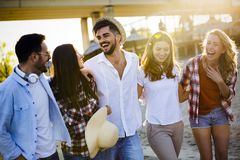 Summer, holidays, vacation and happiness concept. Group of friends Stock Photo