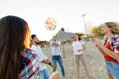 Summer, holidays, vacation and happiness concept. Group of friends royalty free stock photos