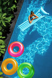 Summer Holidays Vacation. Summertime. Float Rings, Mattress Floating Royalty Free Stock Photo