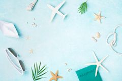 Summer holidays, vacation and travel background. Top view and flat lay. Style royalty free stock image